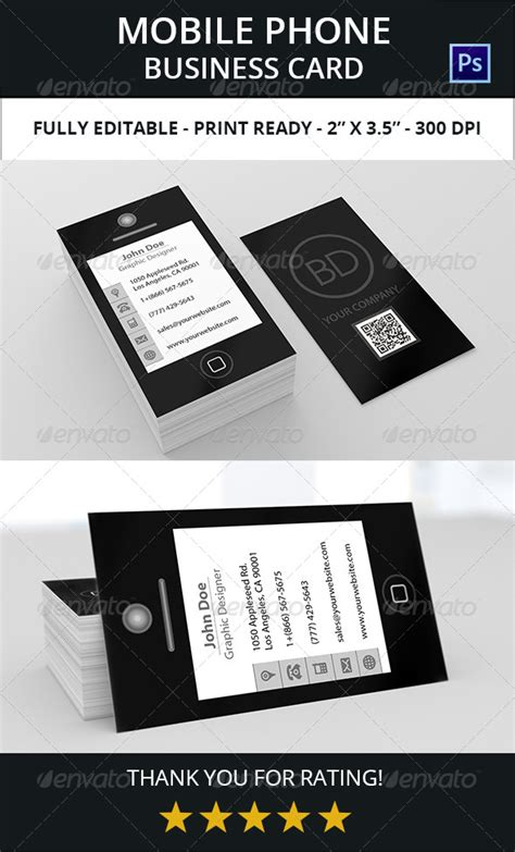 cell phone business card template mobile phone business card template 187 tinkytyler org