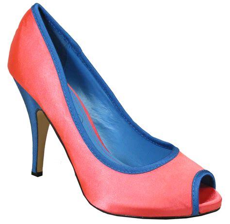 new womens pink blue satin bridal shoe heels wedding
