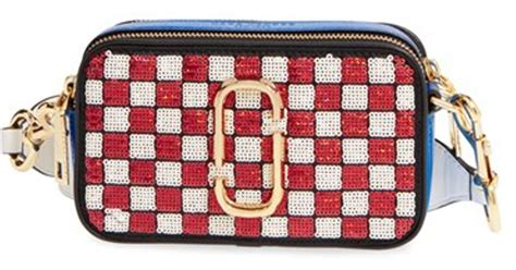 mj snapshot bag 8303 marc small snapshot sequin check crossbody bag in