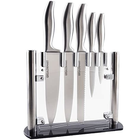6 piece stainless steel knife set with acrylic stand cutlery set for cutting carving great megalowmart professional 6 piece stainless steel kitchen