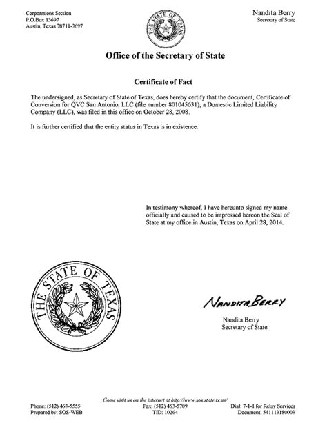 texas secretary of state corporations section certificate of fact