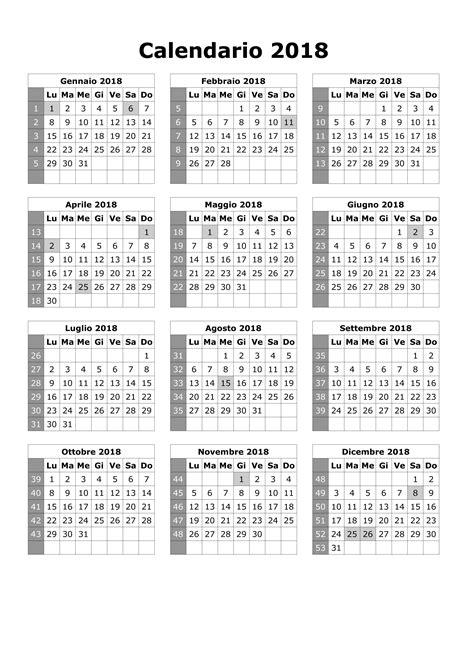 calendario con settimane calendario 2018 con settimane