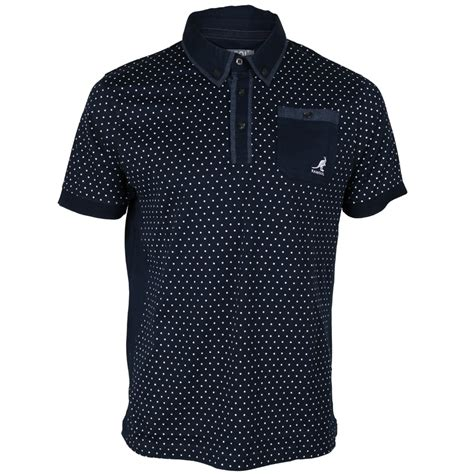 Hoodie I Spotted new mens kangol spotted print button up collared waylon polo shirt size s ebay