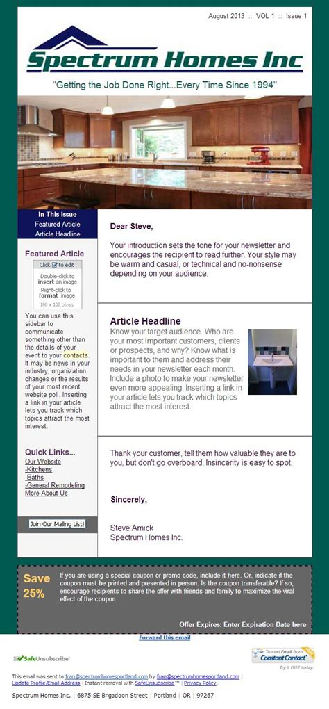 constant contact template width constant contact newsletter design spectrum home