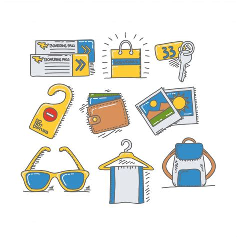 doodle recreational software free travelling vacation and recreation doodle icon and object