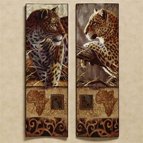 impressions  africa leopard wall art set african wall