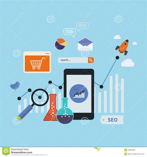 marketing mobil mobile marketing elements stock vector image 49865393