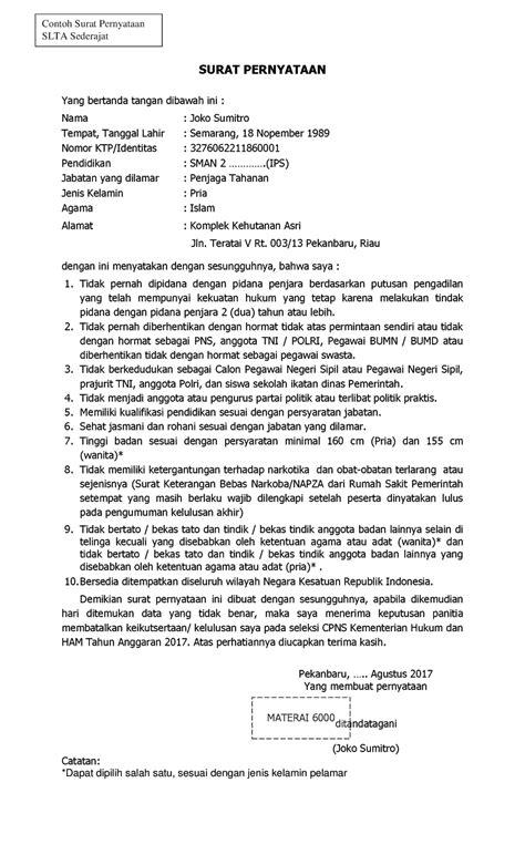 format lamaran cpns 2017 format contoh surat pernyataan cpns kementerian hukum dan