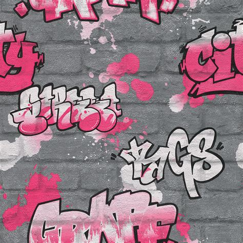 Graffiti Wallpaper Woodies | rasch urban graffiti wallpaper in silver pink white