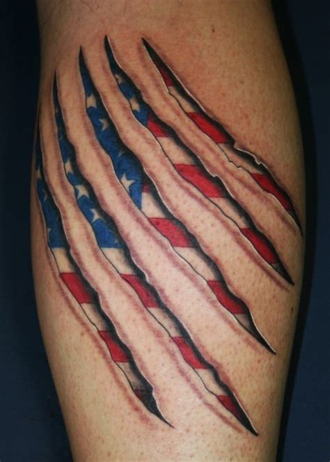 american flag ripped skin tattoo skin rips 3d sculptural torn flesh cracking