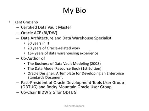 model bio template introduction to data vault modeling