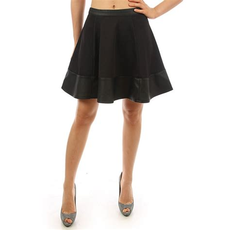 black faux leather trim skater skirt