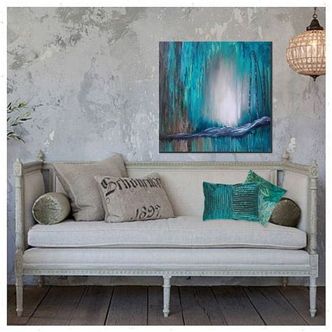 brown turquoise home decor large wall art canvas turquoise abstract painting teal