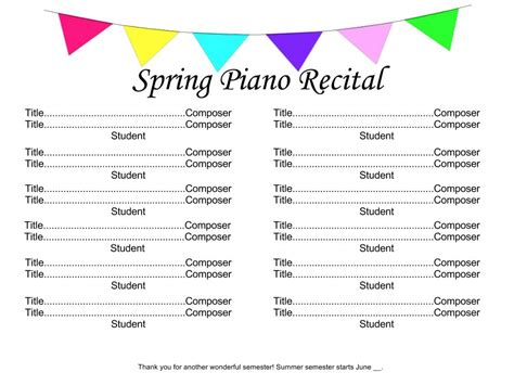 a basic piano recital program template for free music teaching