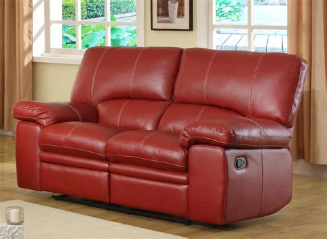 red leather loveseat recliner homelegance kendrick reclining sofa set red bonded