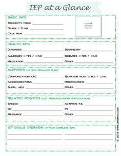 Iep Snapshot Iep At A Glance Iep Data Sheet Teacherspayteachers Com School Stuff Simple Iep Template