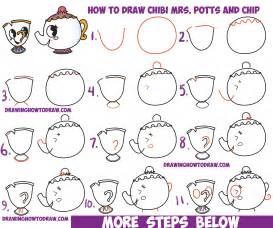 How To Draw Step By Step How To Draw Kawaii Chibi Mrs Potts And Chip From
