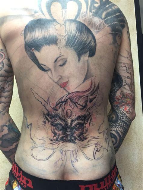 tattoo geisha dragon back in progress tattoo japanese geisha dragon my