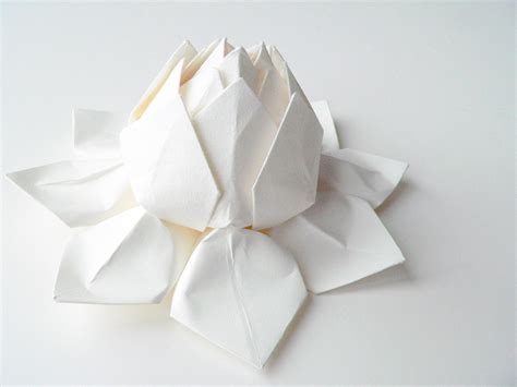 Origami White - handmade paper flower origami lotus flower all white