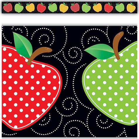 Polka Dot Stickers For Walls dotty apples straight border trim tcr5637 teacher