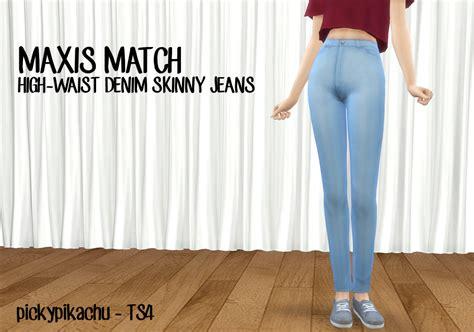 sims 4 high waisted jeans my sims 4 blog maxis match high waist denim skinny jeans