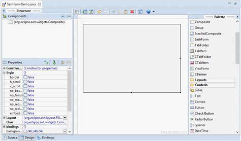 tutorial java windowbuilder java swt sashform tutorial