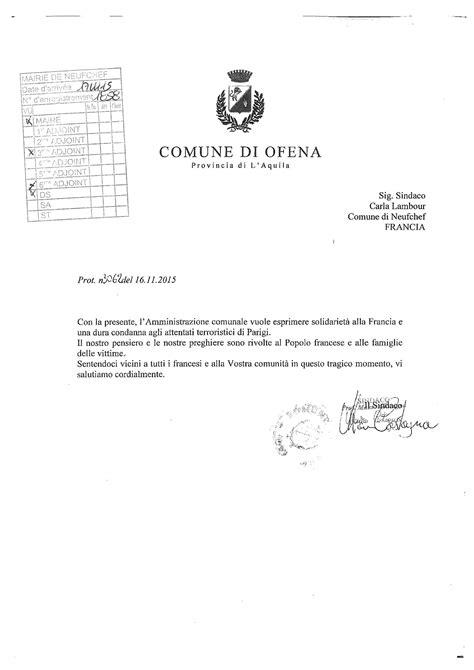 Lettre De Soutien Visa Lettre De Soutien De La Commune De Ofena Commune De Neufchef