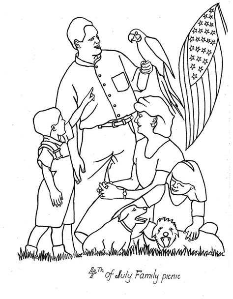 coloring pages of family picnic printable 4th of july coloring pages sheets 4th of july