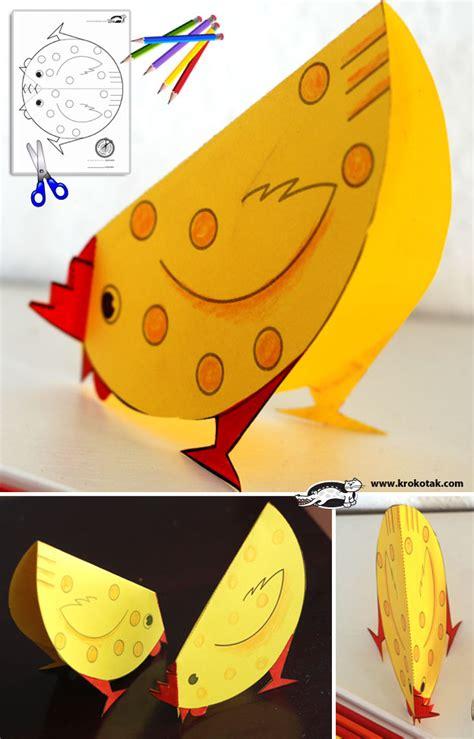Paper Plate Chicken Craft - krokotak cut away some paper animals