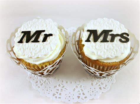 edible cupcake toppers for bridal shower wedding edible fondant cupcake toppers mr mrs by lenascakes