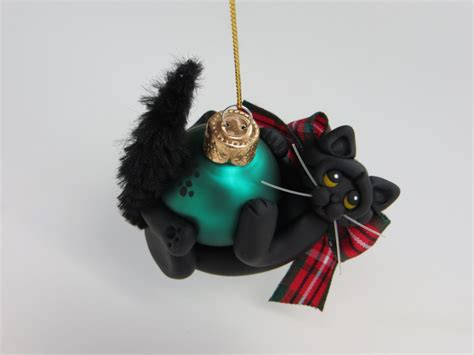 black cat christmas ornament figurine polymer clay art
