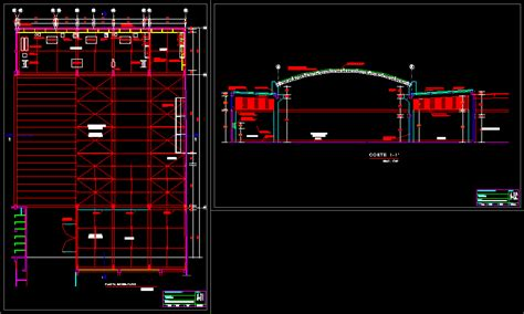 warehouse metal roof structure design study dwg full