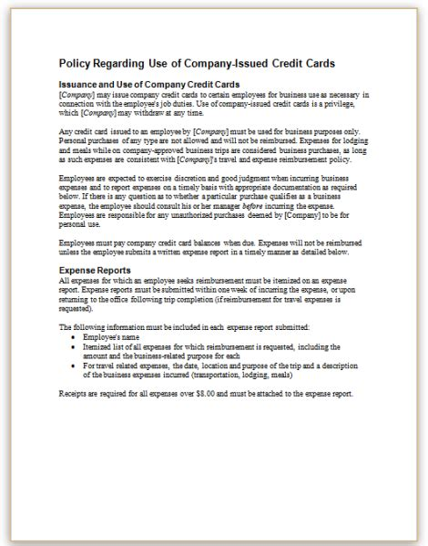 employee credit card use policy template form specifications