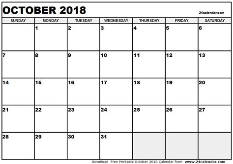 printable calendar october 2018 printable monthly calendar october 2018 larissanaestrada com
