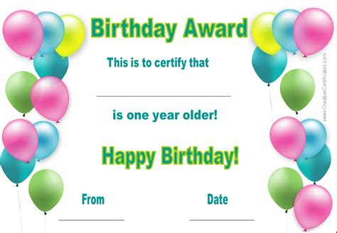 kid certificate templates free printable birthday certificate printable printable birthday