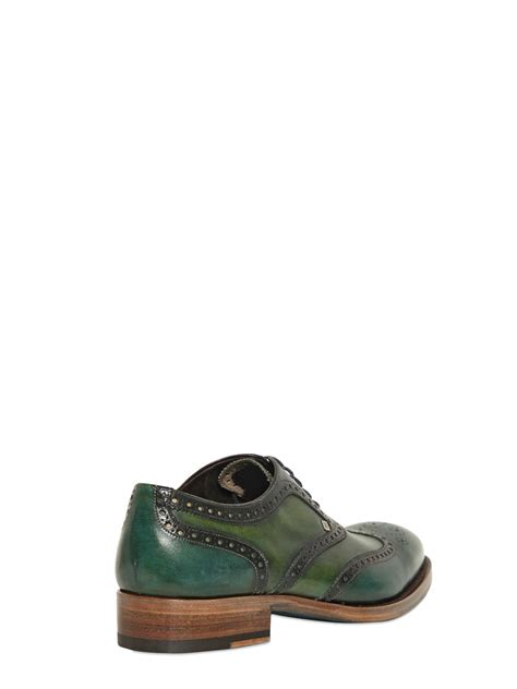 2 tone oxford shoes harris leather two tone brogued oxford shoes in green for