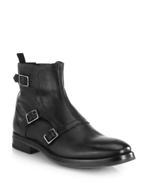 mcqueen monk boots in black for