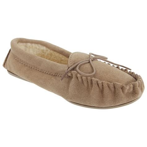 moccasin slippers for mokkers womens angie moccasin real suede slippers