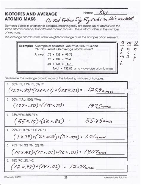 Average Atomic Mass Worksheet Answer Key by Average Atomic Mass Worksheet Lesupercoin Printables