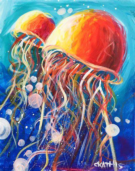 acrylic painting jellyfish summer cs