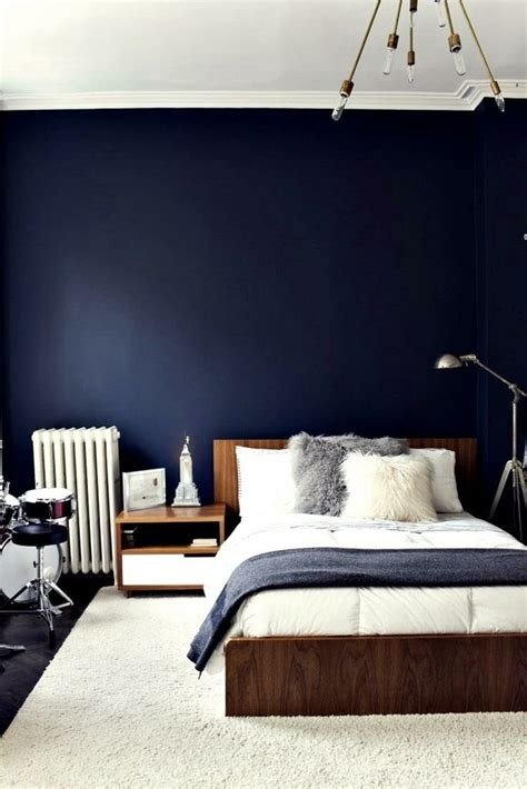 this navy blue wall bedroom spaces places
