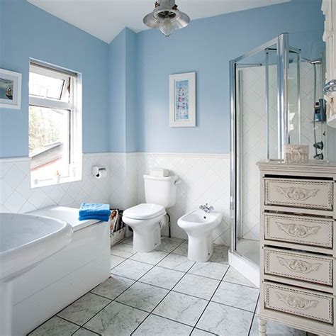 Pale Blue And White Traditional Style Bathroom Bathroom