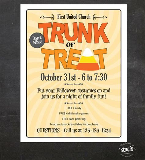 trunk or treat flyer template trunk or treat event flyer by