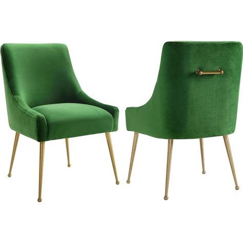 Green Velvet Dining Chairs Tov Furniture Tov D46 Beatrix Green Velvet Side Dining Chair W Handle On Gold Stainless Legs