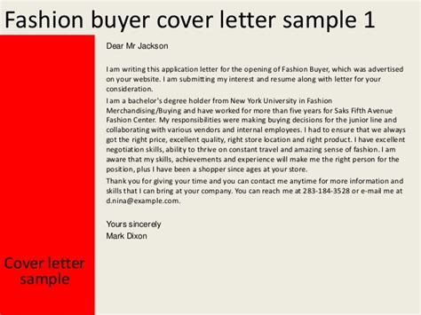 Cover Letter For Fashion Industry fashion buyer cover letter