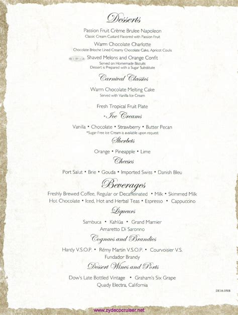 carnival dining room menu related keywords suggestions