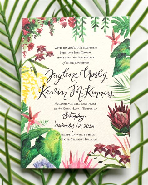 Hawaiian Theme Wedding Invitation To Email by Illustrated Tropical Hawaiian Wedding Invitations Oh So