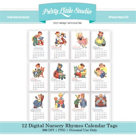 Calendar Rhyme Nursery Rhymes Digital Calendar Cards Vintage Nursery