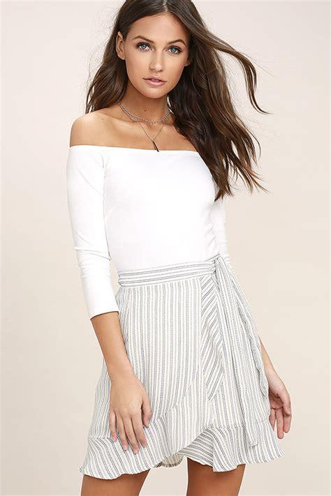 44126 Casual Blue Stripe S M L Skirt Le181117 Import blue and white striped skirt wrap skirt mini
