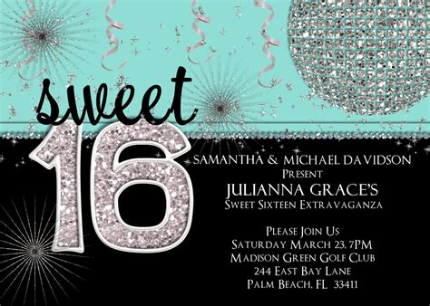 Disco Blue Sweet 16 Invitations Sweet 16 Invitation Sweet Sixteen Birthday Invite